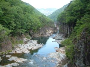 龍王峡 虹見の滝からの眺め