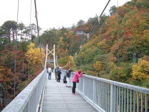 瀬戸合峡の紅葉 吊橋